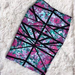 BISOU BISOU Stretch Pencil Floral Geometric Skirt